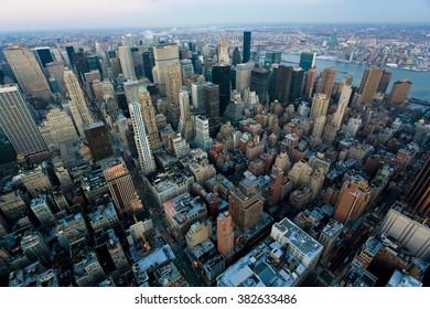 New York,USA - JANUARY 11,2009 : New York City Manhattan street aerial view with skyscrapers. New York,USA on JANUARY 11,2009