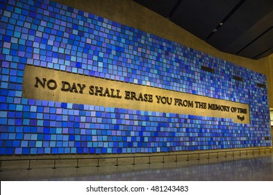 NEW YORK,USA - JULY 2016: Interior of the 9/11 Memorial Museum in New York City.
