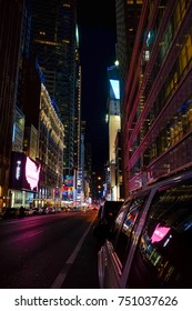 NEW YORK,USA - OCTOBER 1,2017 :New York City at night - 42nd Street with traffic, long exposure,  NYC, USA