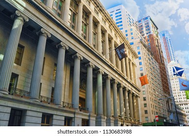 New York,USA -September 04,2017 : National City Bank Building at 55 Wall Street in the Financial District of downtown Manhattan.