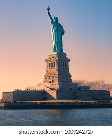 New York,USA. Statue of liberty at sunset
