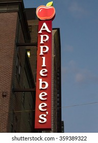 NEW YORK,U.S.A-JULY 9,2015:  Applebee sign in night time. Applebee??s International, Inc. is an company which develops, franchises, and operates the Applebee's Neighborhood Grill and Bar restaurants