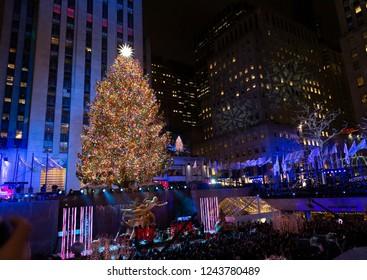 New Yrok, NY - November 28, 2018: Atmosphere during 86th Annual Rockefeller Center Christmas Tree Lighting Ceremony at Rockefeller Center