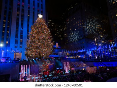 New Yrok, NY - November 28, 2018: Atmosphere during 86th Annual Rockefeller Center Christmas Tree Lighting Ceremony at Rockefeller Center