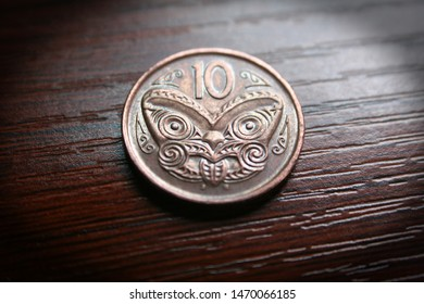 New Zealand 10 Cent Coin Close Up High Quality