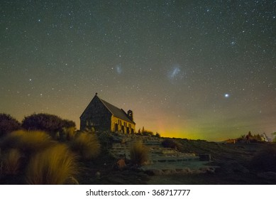 NEW ZEALAND 17TH APRIL 2014 ; Australis aurora and Milky way at the Church of the Good Shepherd, Lake Tekapo, New Zealand
