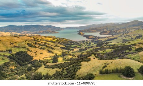 New Zealand aerial drone top view of nature farm landscape background. Oceania travel.