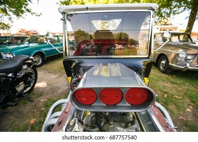 Wedding couple car decorated plate just stock photo edit now new zealand april 2016 exhibition of vintage cars in auckland new zealand junglespirit Image collections