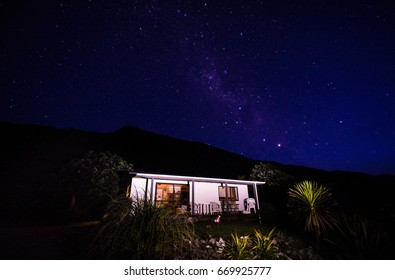 New Zealand Bach at Night, Punakaiki, West Coast, South Island, New Zealand