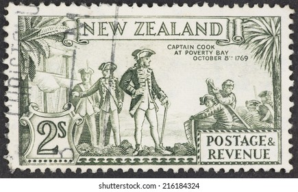 NEW ZEALAND - CIRCA 1935: A Cancelled postage stamp from New Zealand illustrating Landing of Captain Cook, issued in 1935.