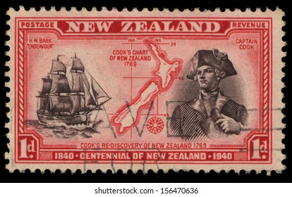 NEW ZEALAND - CIRCA 1940: A stamp printed in New Zealand shows Cook�s Chart of New Zealand 1769- Cook�s Re-Discovery of New Zealand 1769, circa 1940