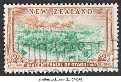 NEW ZEALAND - CIRCA 1948: A Cancelled postage stamp from New Zealand illustrating Otago Centennial, issued in 1948.