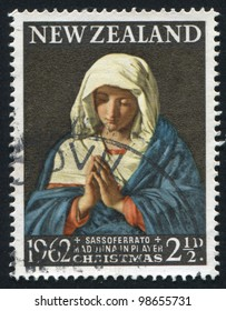 NEW ZEALAND - CIRCA 1962: A stamp printed by New Zealand, shows Madonna in Prayer by Sassoferrato, circa 1962