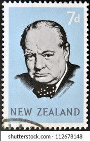 NEW ZEALAND - CIRCA 1965: A stamp printed in New Zealand shows Sir Winston Churchill, circa 1965