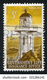 NEW ZEALAND - CIRCA 1969: A stamp printed by New Zealand, shows Lighthouse at Baring Head, circa 1969