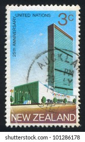 NEW ZEALAND - CIRCA 1970: A stamp printed by New Zealand, shows United Nations Headquarters in New York, circa 1970