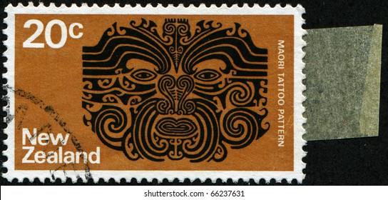 NEW ZEALAND - CIRCA 1970: A stamp printed in New Zealand shows Maori tattoo pattern, circa 1970