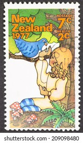 NEW ZEALAND - CIRCA 1977: A Cancelled postage stamp from New Zealand illustrating Children in the woods, issued in 1977.