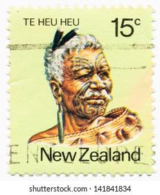 NEW ZEALAND - CIRCA 1980: A stamp printed in New Zealand, shows portrait of Te Heu Heu Tukino IV, Ngati Tuwharetoa Tribal Chief, circa 1980