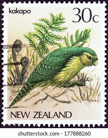 "NEW ZEALAND - CIRCA 1982: A stamp printed in New Zealand from the ""Native Birds"" issue shows Kakapo (Strigops habroptilus), circa 1982."