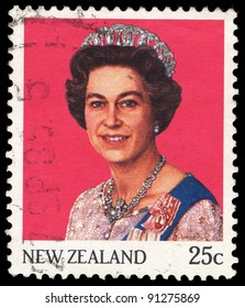 NEW ZEALAND - CIRCA 1985: A stamp printed in New Zealand shows Queen Elizabeth II, circa 1985
