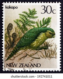 NEW ZEALAND - CIRCA 1986: a stamp printed in the New Zealand shows Kakapo, Owl Parrot, Strigops Habroptilus, is a Species of Large Flightless, Ground-dwelling Parrot, circa 1986