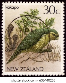 NEW ZEALAND - CIRCA 1986: A stamp printed by NEW ZEALAND, shows Kakapo bird (Strigops habroptilus), circa 1986
