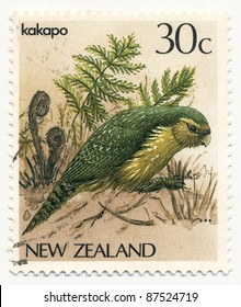 NEW ZEALAND - CIRCA 1986: A stamp printed in New Zealand, shows bird kakapo (Strigops habroptilus), circa 1986