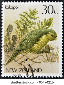 NEW ZEALAND - CIRCA 1986: A stamp printed in New Zealand, shows a bird Kakapo (Strigops habroptilus), circa 1986