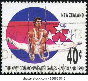NEW ZEALAND - CIRCA 1989: A stamp printed in New Zealand, shows Gymnast at 14th Commonweath Games in Auckland in 1990, circa 1989