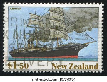 NEW ZEALAND - CIRCA 1990: A stamp printed by New Zealand, shows The Ship, Arawa, circa 1990