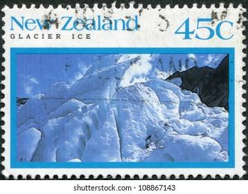 NEW ZEALAND - CIRCA 1992: Postage stamps printed in New Zealand, shows Franz Josef Glacier, Westland Tai Poutini National Park, circa 1992