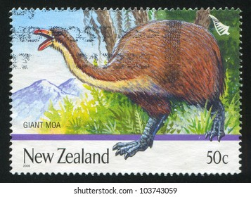 NEW ZEALAND - CIRCA 1996: A stamp printed by New Zealand, shows Extinct  Birds, Giant moa, circa 1996