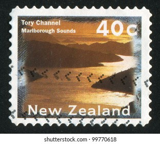 NEW ZEALAND - CIRCA 1996: A stamp printed by New Zealand, shows Tory Channel, a part of Marlborough Sounds, circa 1996