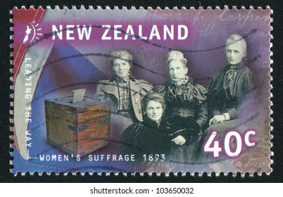 NEW ZEALAND - CIRCA 1999: stamp printed by New Zealand, shows Women and Ballot Box, circa 1999