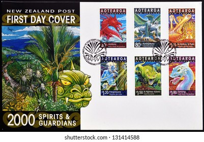 NEW ZEALAND - CIRCA 2000: Stamps printed in New Zealand dedicated to spirits and guardians, maori legends, circa 2000
