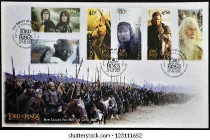 NEW ZEALAND - CIRCA 2003: A series of stamps printed in New Zealand dedicated to The Lord of the Rings shows the characters in the movie, circa 2003