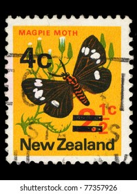 NEW ZEALAND - CIRCA 2004: A stamp printed in New Zealand shows image of a magpie moth, series, circa 2004