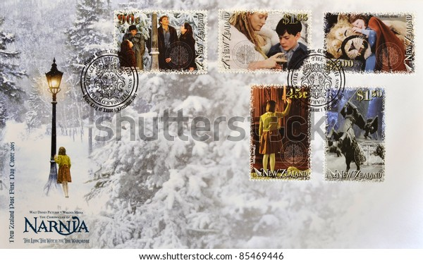 NEW ZEALAND - CIRCA 2005: Stamps printed in New Zealand shows The Chronicles of Narnia, The Lion, the Witch and the Wardrobe, first day cover, circa 2005