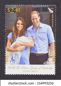 NEW ZEALAND - CIRCA 2013: a postage stamp printed in New Zealand  commemorative of Prince George birth the first child of Prince William and Kate Middleton, circa 2013.
