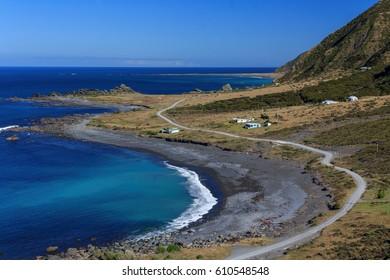 New Zealand coastal landscape at the North Island, Cape Palisher, location - Wellington, North Island, New Zealand