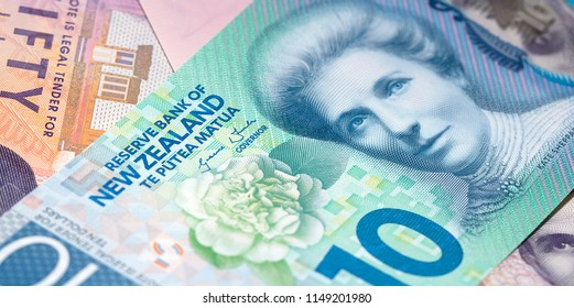 New Zealand Currency - New Zealand ten dollar banknote. Close up, full frame in a panoramic format.