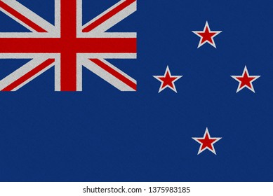 New Zealand fabric flag. Patriotic background. National flag of New Zealand