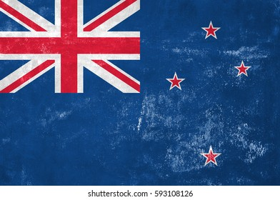 New Zealand - Flag on Old Grunge Texture Background