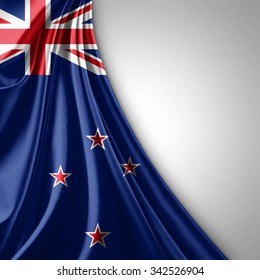 New Zealand flag of silk  with copyspace for your text or images