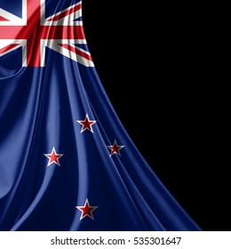 New Zealand  flag of silk with copyspace for your text or images and black background-3D illustration