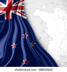 New Zealand  flag of silk with world map and white background