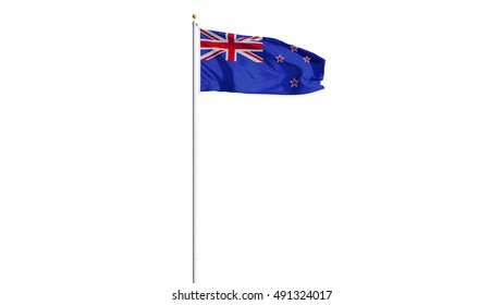 New Zealand flag waving on white background, long shot, isolated with clipping path mask alpha channel transparency
