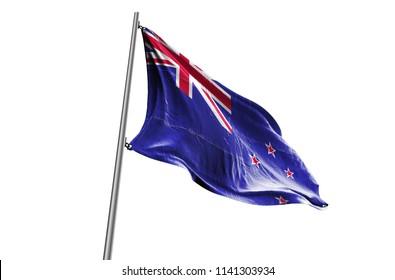 NEW ZEALAND Flag waving white background