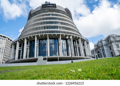 New Zealand Government buildings with focus on few daisies in green lawn in front of The Beehive building.